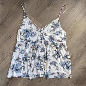 Aerie super soft white floral tank top